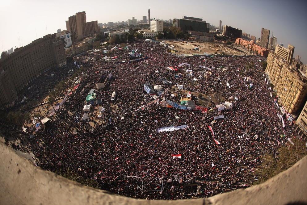 Egyptians gather in Tahrir Square to mark the first anniversary of the Jan. 25 revolution.