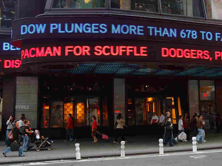 NEW YORK - OCTOBER 09: People walk bene