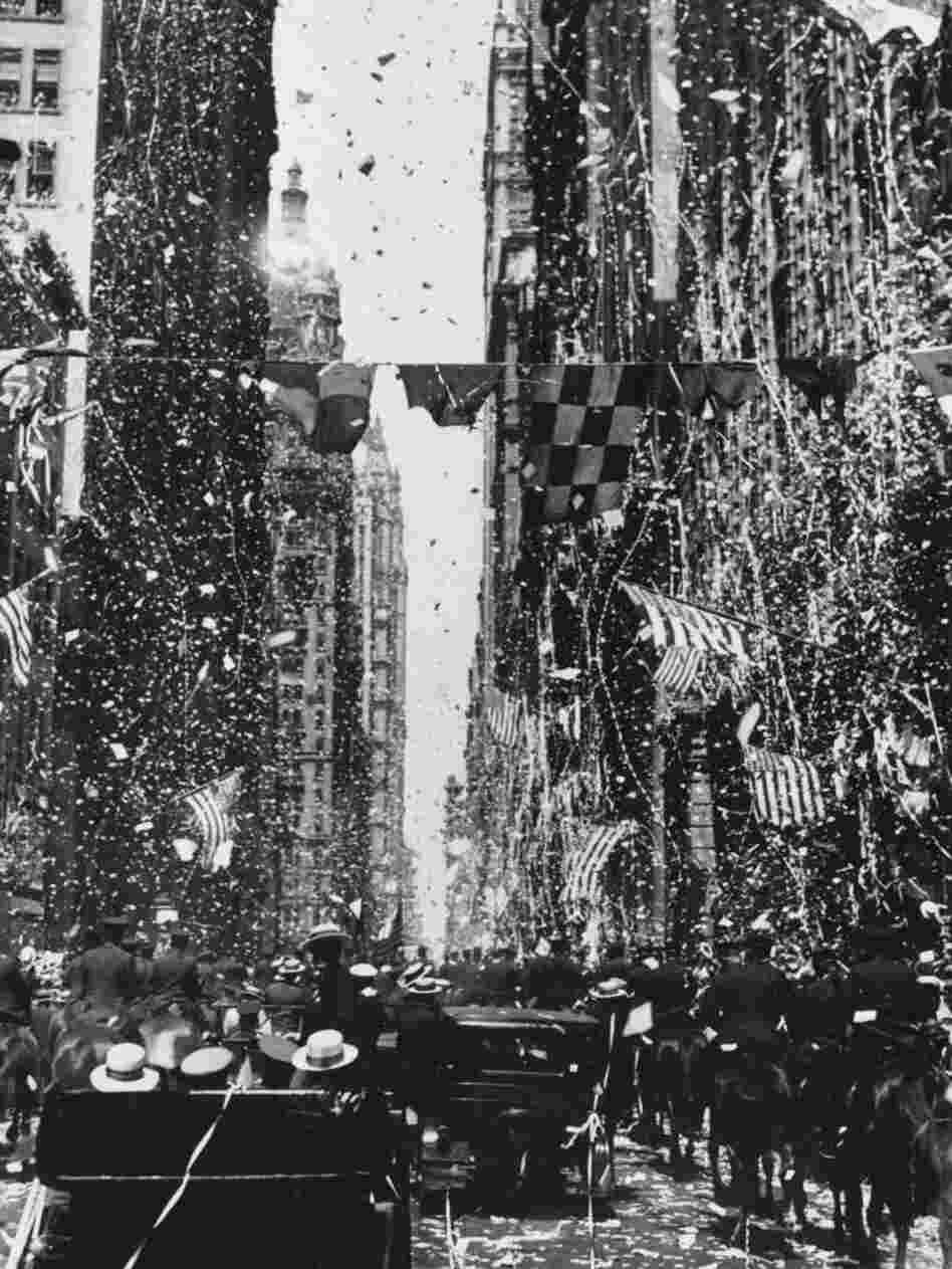 When ticker-tape really flew: In June 1927, New York City celebrated Charles Lindbergh's return after his non-stop one-man transatlantic flight from New York to Paris.