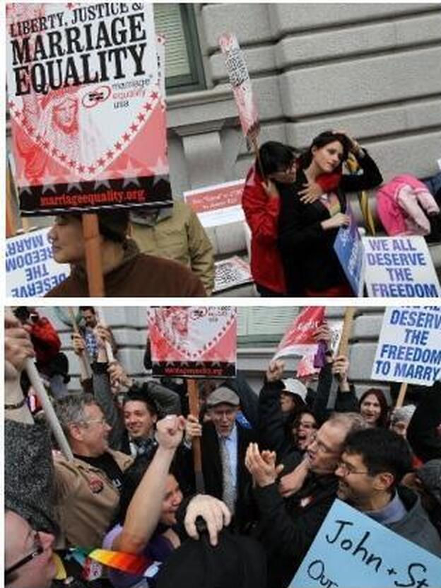 At the top: Proposition 8's supporters (who oppose same-sex marriage). Below: Proposition 8's opponents. Outside the court today in San Francisco. (Getty Images)