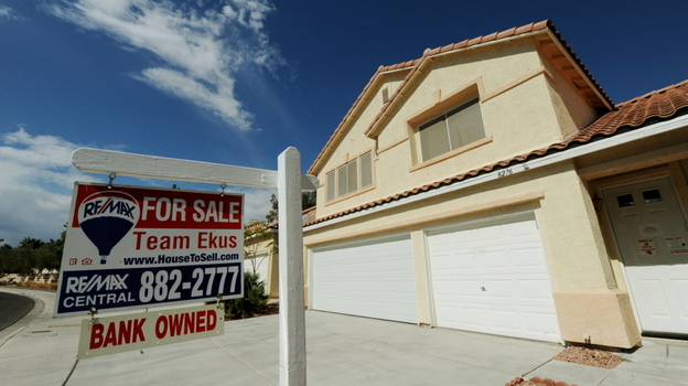 A bank-owned foreclosed home is offered for sale in Las Vegas.  (AFP/Getty Images)