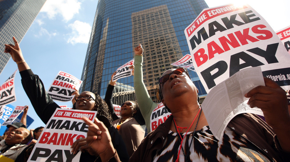 Anti-Wall Street demonstrators march on banks in Los Angeles in October. (Getty Images)