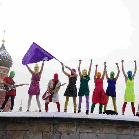 Russian feminist collective Pussy Riot stages a protest in Moscow's Red Square against Prime Minister Vladimir Putin. Members were arrested and detained briefly after their mid-January protest.