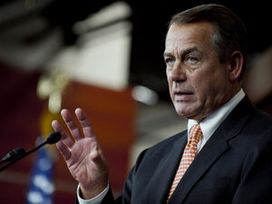 House Speaker John Boehner says Congress will intervene if President Obama doesn't reconsider a decision to compel church