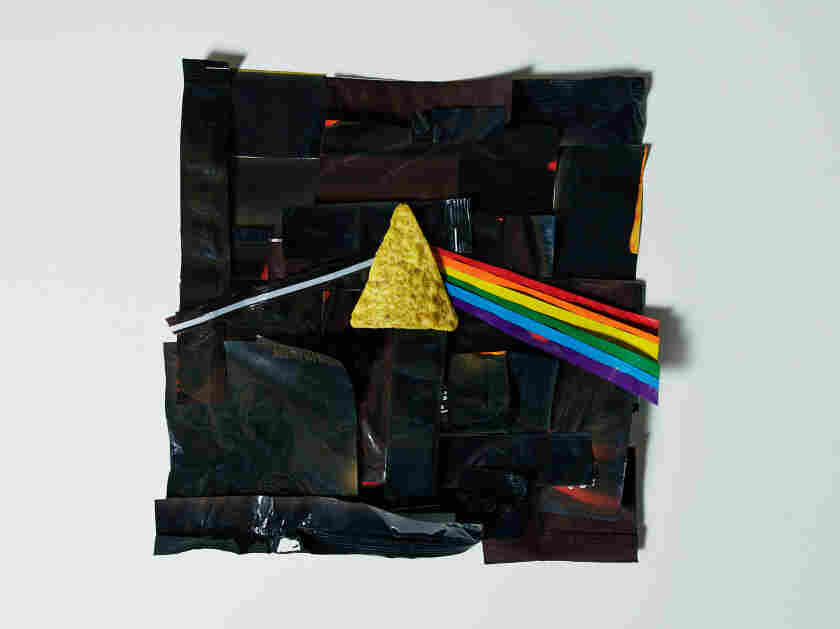 "A rendition of the Pink Floyd album ""The Dark Side of the Moon"" made out of Doritos bags."