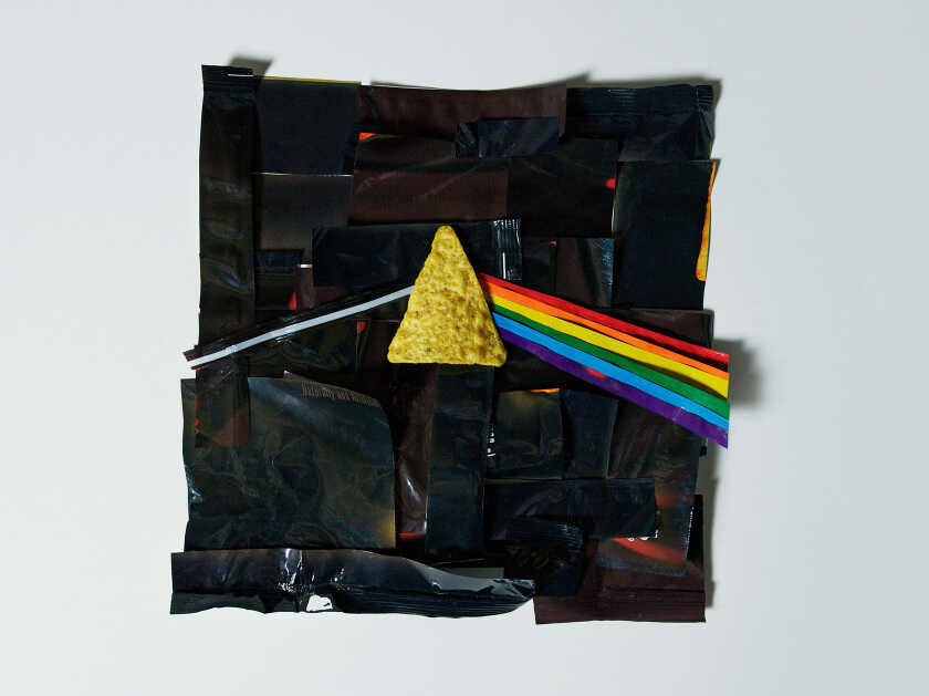 """A rendition of the Pink Floyd album """"The Dark Side of the Moon"""" made out of Doritos bags."""