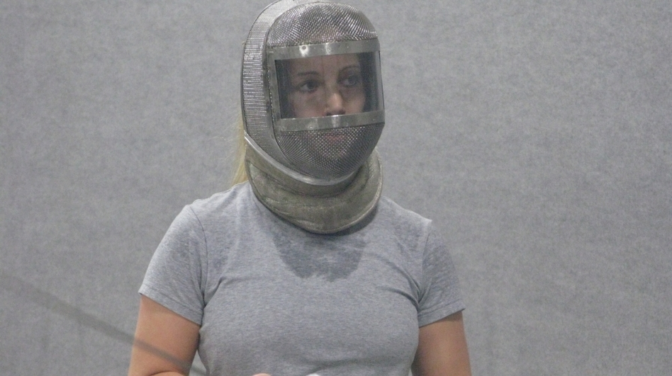 Mariel Zagunis during a recent training session in Portland, Ore. Zagunis won gold medals in women's sabre fencing at the 2004 and 2008 Summer Olympics. (NPR)