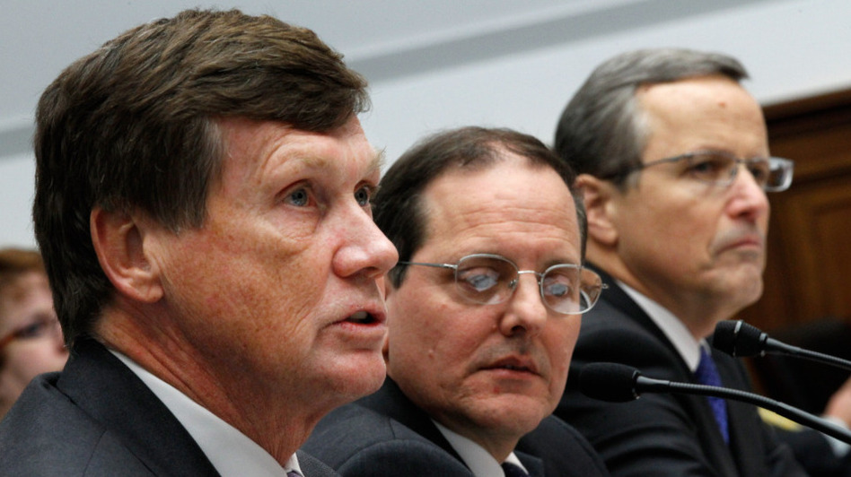 In December, Freddie Mac CEO Charles Haldeman (from left), FHFA acting Director Edward DeMarco and Fannie Mae CEO Michael Williams testified on Capitol Hill about the Federal Housing Finance Agency's performance.