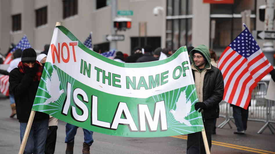 "January 2010: Muslim-Americans protest against terrorism outside a federal court building in Detroit, where ""Christmas Day"" bomber Umar Farouk Abdulmutallab was b"