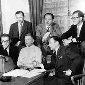 Writers for Sid Caesar include Mel Brooks (front, lower right corner) and Neil Simon (back row, upper left corner).