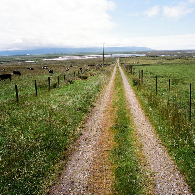 A path through farmland leads to the ocean in Loleta, Humboldt County, Calif.