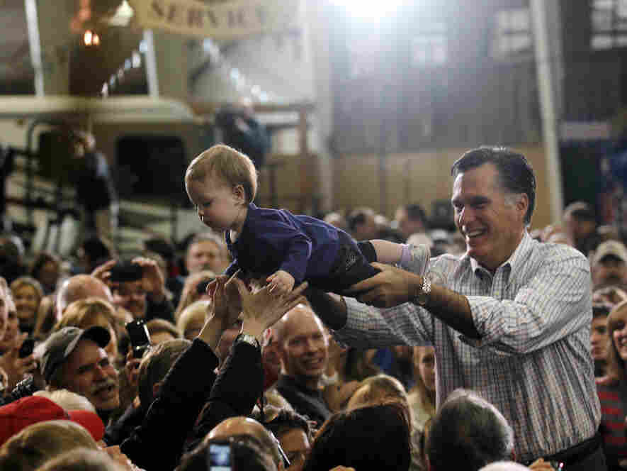 Mitt Romney during a lighter moment in Loveland, Colo. on a day when he lost three presidential preference contests, Feb. 7, 2012.