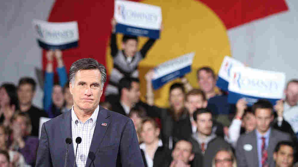 Republican presidential candidate Mitt Romney speaks to supporters at a rally in Denver on Tuesday.