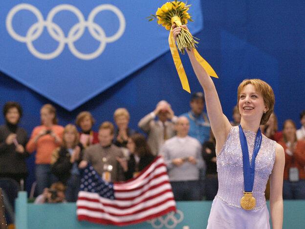 American figure skater Sarah Hughes won gold at the 2002 Winter Games in Salt Lake City.