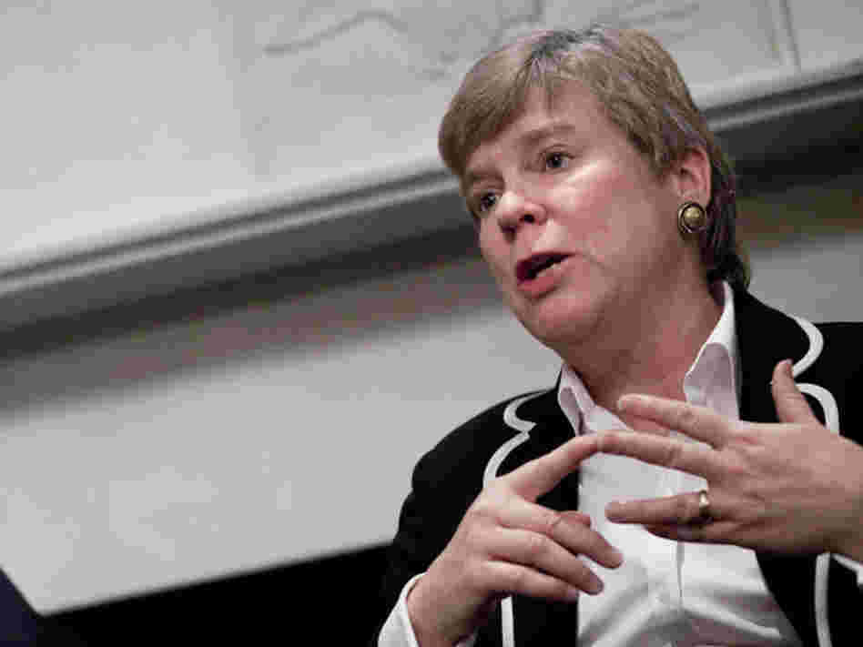 New START negotiator Rose Gottemoeller speaks to reporters in 2010 in Washington, D.C. The acting undersecretary of state for arms control is looking into ways social media tools can help regulate nuclear weapons.