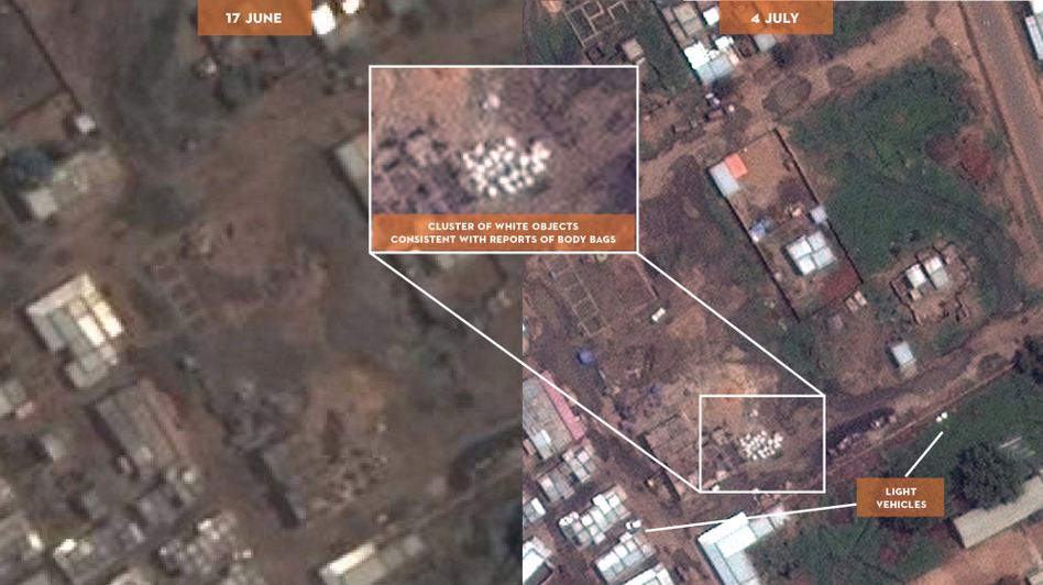 This satellite image of Sudan was made available by the Satellite Sentinel Project in 2011. It appears to be a mass grave, offering the first aerial photographs from a conflict zone that outside observers can't access. (AP)