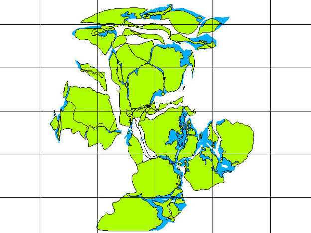 This map shows what the Earth's landmass looked like in the Precambrian Era, about 738 million years ago.