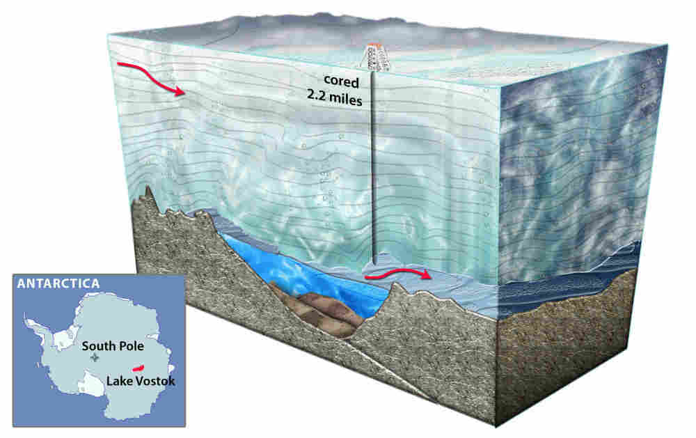 Lake Vostok is the largest of 145 subglacial lakes in Antarctica. It sits more than two miles beneath the continent's icy surface.