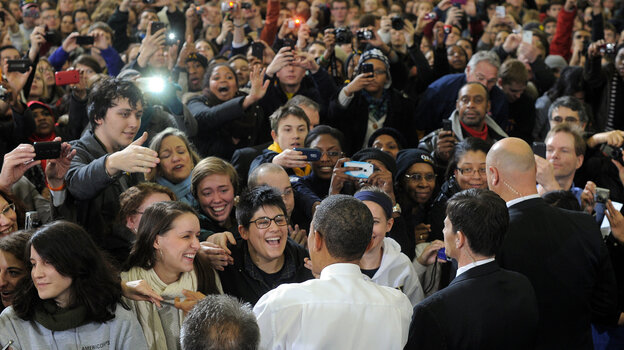 President Obama greets students after speaking at the University of Michigan in Ann Arbor on Jan 27. Young Republicans say they see an opportunity in 2012 to dent Obama's popularity