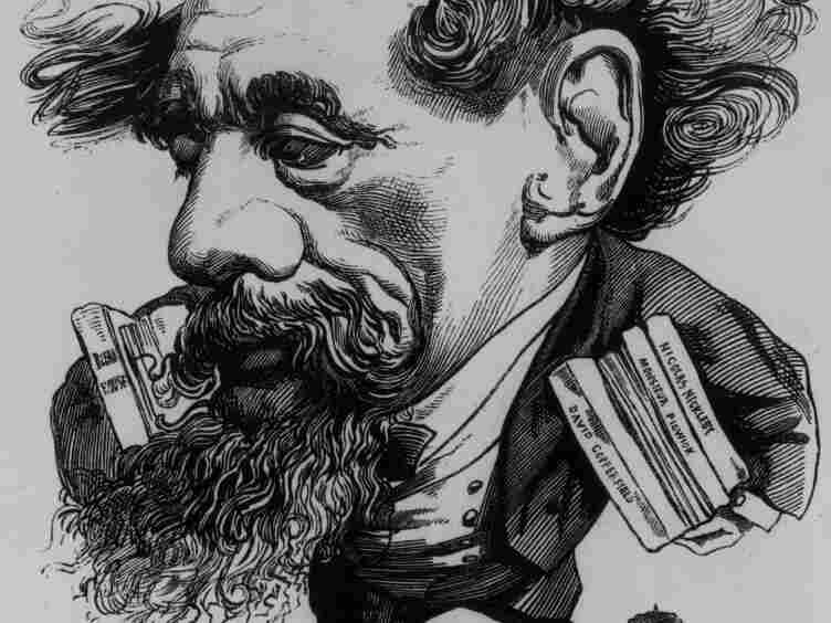 An Andre Gill caricature of the novelist with his own books under his arm.