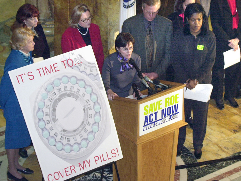 In 2002, state lawmakers in Massachusetts approved legislation requiring most employers to provide contraceptive coverage to their employees. One of the groups pushing for the law was the Coalition for Choice, led by Melissa Kogut (center).