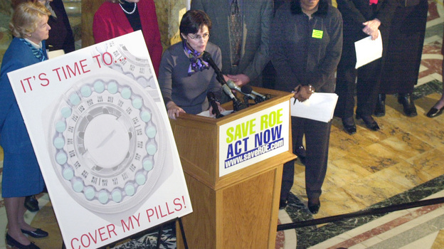 In 2002, state lawmakers in Massachusetts approved legislation requiring most employers to provide contraceptive coverage to their employees. One of the groups pushing for the law was the Coalition for Choice, led by Melissa Kogut (center). (AP)