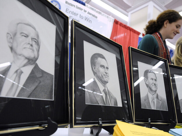 Enthusiasm for the candidates may have been low, but their portraits were on display at the American Conservative Union's annual Conservative Political Action Conference in Washington on Thursday.