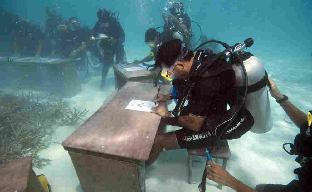 Former Maldivian president Mohammed Nasheed held an underwater cabinet meeting in 2009 on the perils of climate change. He alleges he was toppled in a coup this week by armed officers.