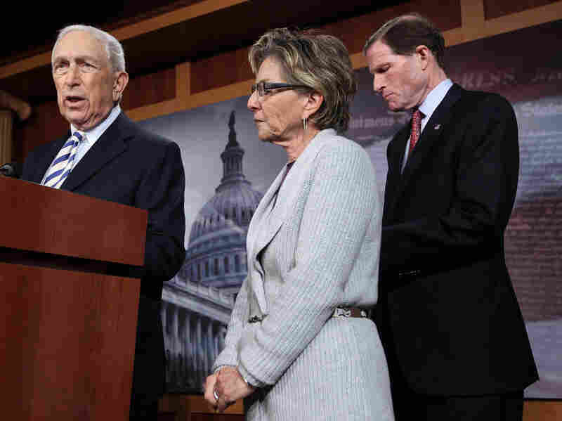 Sen. Frank Lautenberg, D-NJ, speaks as Sen. Blumenthal, D-Conn, and Sen. Boxer, D-Calif, during a news conference on  Feb. 8, 2012 in Washington, D.C. The news conference was to discuss the Obama administration's requiring employers to provide free contraceptive in their health coverage.