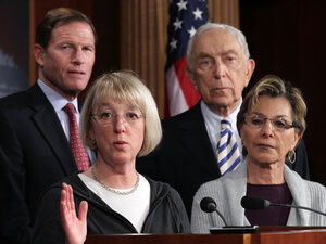 Sen. Patty Murray, D-Wash, speaks with Sen. Blumenthal, D-Conn, Sen. Lautenberg D-NJ, and Sen. Boxer, D-Calif, during a news conference on Feb. 8, 2012 in Washington, D.C. The news conference discussed the Obama administration's requiring employers to provide free contraceptive in their health coverage.