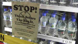 Students at Humboldt State University created this display to educate peers on the perceived ills of bottled water, ahead of a campus-wide ban.