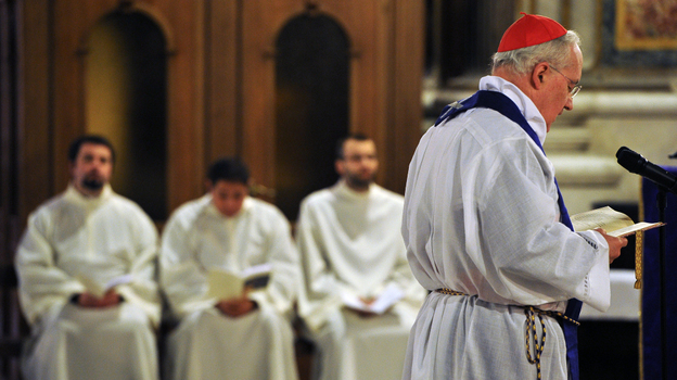 Cardinal Marc Ouellet presides over a penitential Mass at St. Ignatius Church in Rome on Tuesday. The Mass, which asked for the forgiveness of victims of clerical sexual abuse, was part of a Vatican-backed symposium addressing the scandal of pedophile priests and the church culture that enabled such abuse to take place. (AFP/Getty Images)