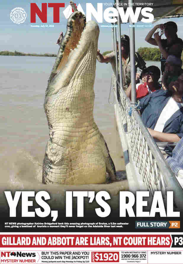 """The NT News is famous across Australia for its liberal use of crocodile photos on the paper's front page, including this memorable shot of a """"croc cruise."""""""