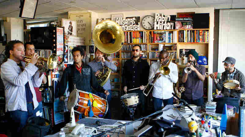 Red Baraat performs a Tiny Desk Concert at the NPR Music offices on Feb. 3, 2012.