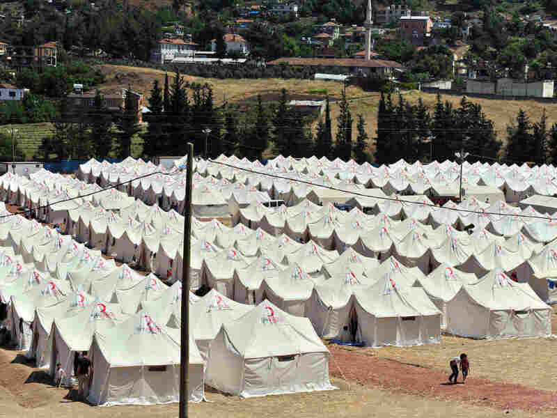A view of a Turkish Red Crescent camp in the Yayladagi district of Hatay near the Syrian border, shown in June 2011. Currently, Turkey has some 12,000 refugees from Syria.
