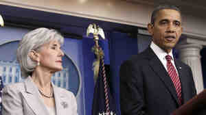 President Obama and Health and Human Services Secretary Kathleen Sebelius announce the revamping of his contraception policy, at the White House on Friday.