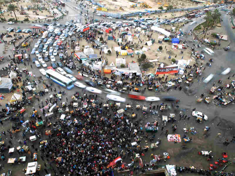Protesters gather for a demonstration to demand the ouster of the country's military rulers at Cairo's Tahrir Square on Friday.