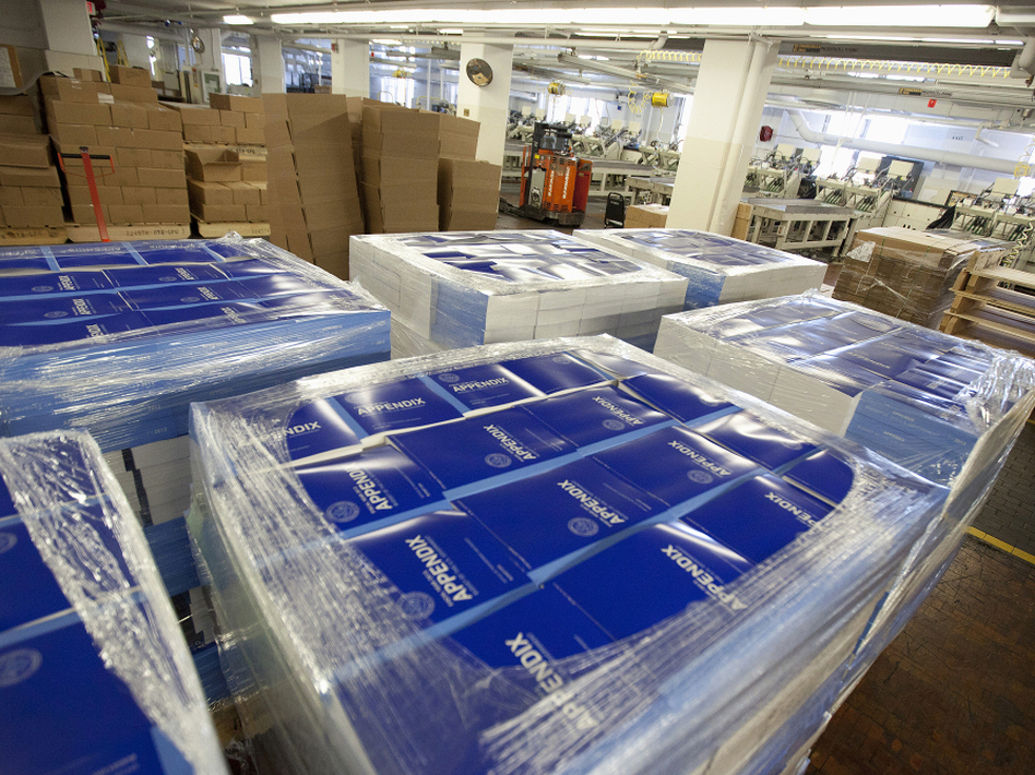 Copies of of President Obama's fiscal 2013 federal budget are readied for shipment Thursday at the Government Printing Office in Washington.  (Manuel Balce Ceneta/AP)