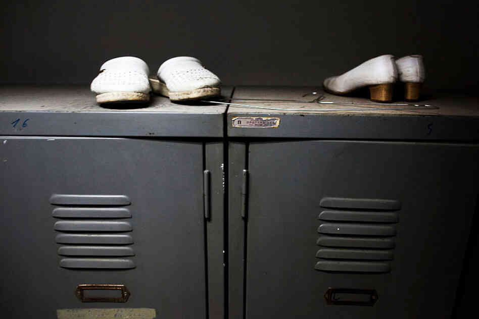 Shoes are abandoned on top of lockers at Asklypeio Public Hospital.