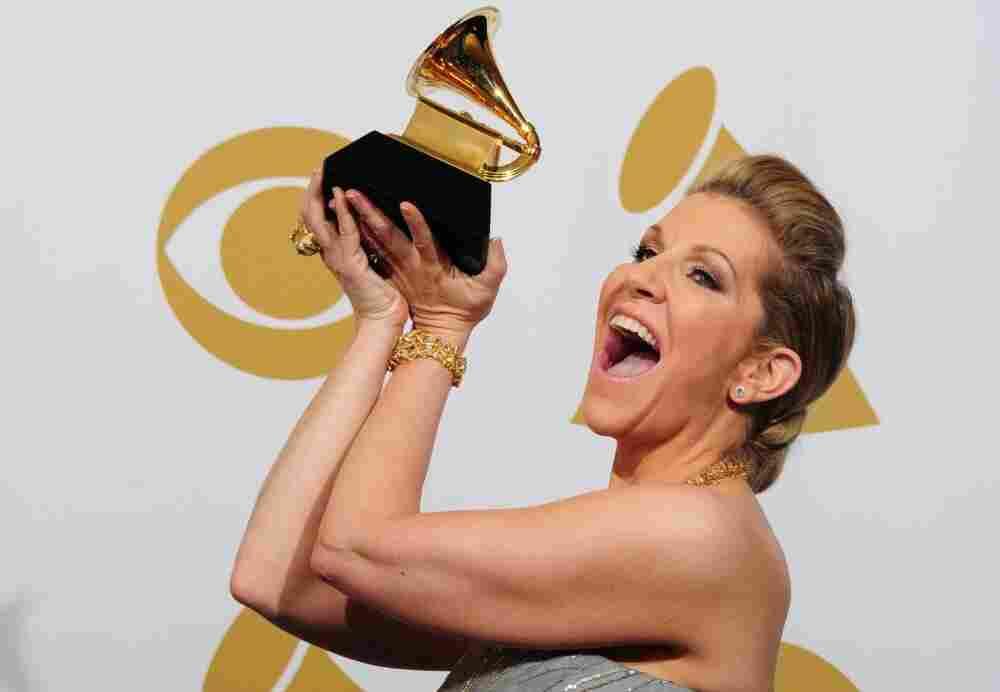 Mezzo Joyce DiDonato hoists her newly won Grammy at yesterday's awards ceremony.
