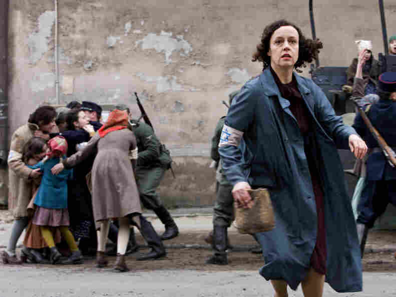 Paulina Chiger, played by Maria Schrader in Holland's film In Darkness, flees from Nazis rounding up Jews on the streets of Lvov. Chiger's daughter Krystyna tells NPR that the film is an accurate portrayal of how Leopold Socha sheltered her family in the city's sewers.