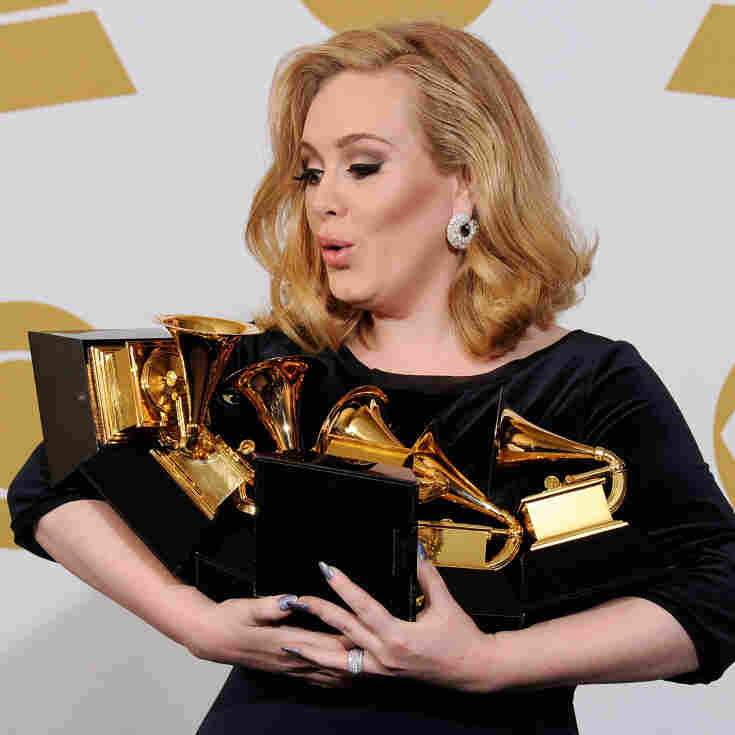 Adele won each of the six Grammys for which she was nominated, including the awards for Album, Song and Record of the Year. She also performed for the first time since canceling a tour last year to recover from throat surgery.