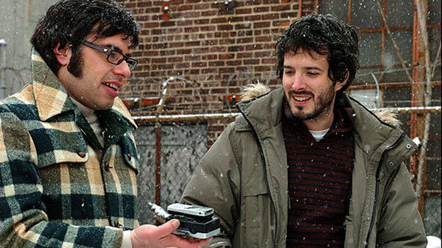 Jemaine Clement (left) and Bret McKenzie: Witty musical parodists play witless musicians in Flight of the Conchords. (HBO)