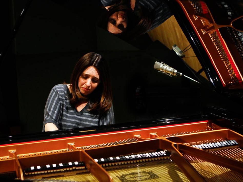 "Simone Dinnerstein, at NPR's Studio 4A, plays <em>The Cohen Variations</em>, a new piece based on Leonard Cohen's song ""Suzanne."" (Doriane Raiman/NPR)"