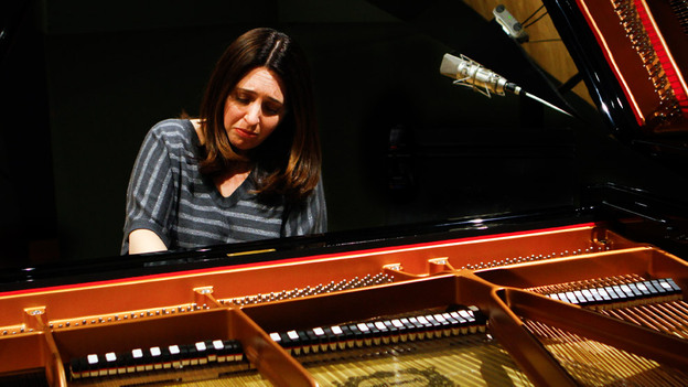 "Simone Dinnerstein, at NPR's Studio 4A, plays The Cohen Variations, a new piece based on Leonard Cohen's song ""Suzanne.""  (NPR)"