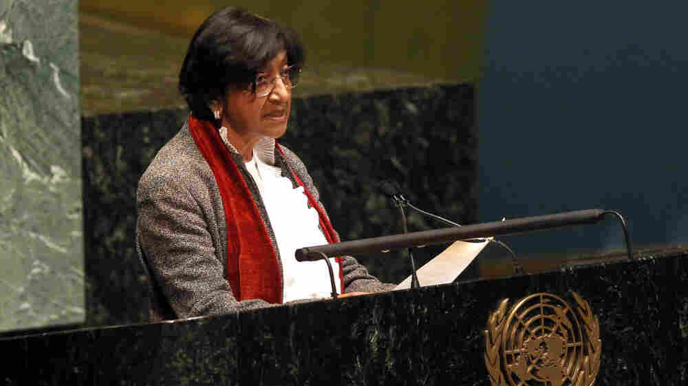 High Commissioner for Human Rights Navi Pillay delivers remarks during a meeting of the United Nations General Assembly to discuss the human rights situation in Syria on Monday.