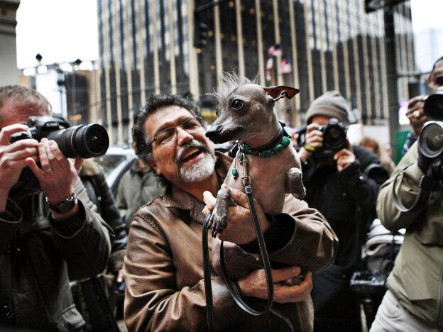 Jose Barrera holds Alma Dulce, his 2-year-old xoloitzcuintli, or Mexi