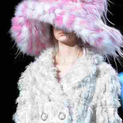 A model presents an outfit during the Marc Jacobs show Monday at Mercedes Benz Fashion Week in New York.