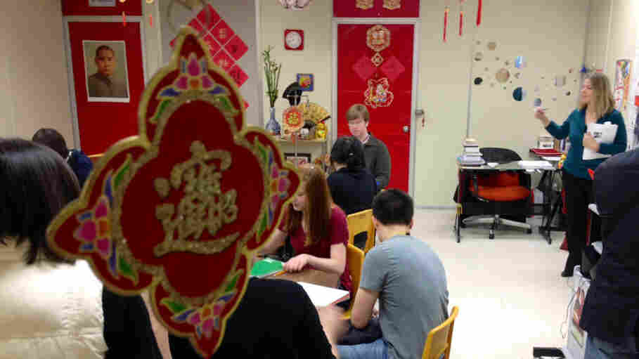 Students at Iowa's Muscatine High School attend a Chinese language class that was inspired by Vice President Xi Jinping's 1985 visit. China's heir apparent will be back in town Wednesday.