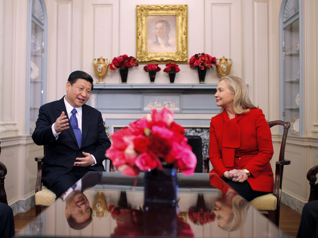 China's Vice President Xi Jinping sits down with U.S. Secretary of State Hillary Rodham Clinton on Tuesday in Washington.
